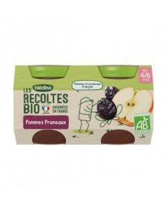 Blédina Les Récoltes Bio Pommes Pruneaux dès 4/6 mois 2x130g