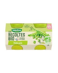 Blédina Les Récoltes Bio Petits Poids 4/6 mois 2x130g
