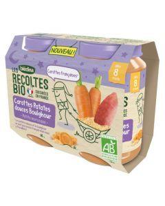 Blédina Les Récoltes Bio Carottes Patates Douces Boulghour dès 6 mois 2x200g