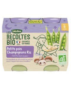 Blédina Les Récoltes Bio Petits Pois Champignons Riz Petits Morceaux dès 8 mois 2x200g