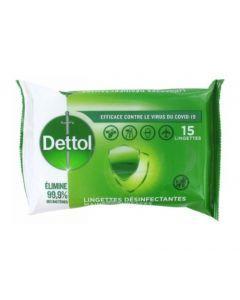 Dettol Lingettes Désinfectantes Mains et Surfaces 15 lingettes