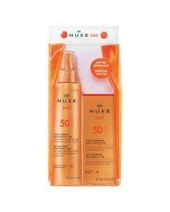Nuxe Sun Trousse SPF50 : 1 Spray Fondant Corps et Visage 150ml + 1 Crème Fondante Visage 50ml