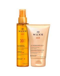 Nuxe Sun Duo : 1 Huile Bronzante SPF30 150ml + 1 Lait Fraîcheur Après Soleil 100ml offert