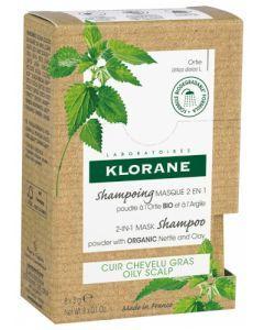 Klorane Shampoing Masque 2 en 1 Poudre à l'Ortie Bio et à l'Argile 8 sachets