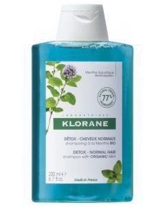 Klorane Détox Cheveux Normaux Shampoing à la Menthe Bio 200ml