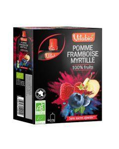 Vitabio Spécialité de Fruits Pomme Framboise Myrtille Bio 4x120 g