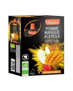 Vitabio Spécialité de Fruits Pomme Mangue Acerola Bio 4x120 g