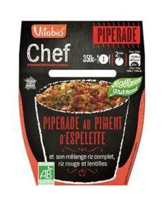 Vitabio Chef Piperade au piment d'Espelette et son mélange riz complet, riz rouge et lentilles 350g