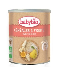 Babybio Céréales 3 Fruits avec Quinoa dès 6 Mois 220g