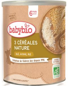 Babybio 3 Céréales Nature Blé Avoine Riz dès 6 mois 220g
