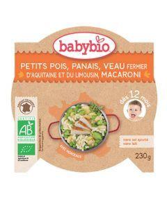 Babybio Assiette Petits Pois, Panais, Veau, Macaroni Biologique dès 12 Mois 230g