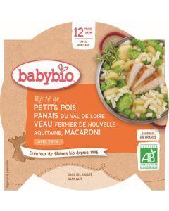 Babybio Mijoté de Petits Pois Panais du Val de Loire Veau Fermier de Nouvelle-Aquitaine Macaroni au Thym dès 12 mois 230g