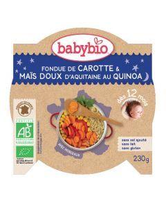 Babybio Assiette Foudue de Carotte, Maïs, Quinoa Biologique dès 12 Mois 230g