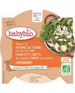 Babybio Pomme de Terre du Val de Loire Haricots Verts de Vendée Dinde du Poitou à l'Estragon dès 12 mois 230g