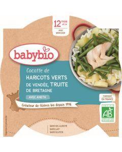 Babybio Cocotte d'Haricots Verts de Vendée Truite de Bretagne avec Aneth dès 12 mois 230g