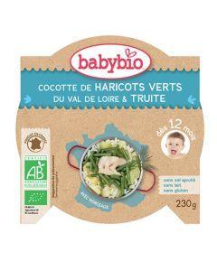 Babybio Assiette Cocotte d'Haricots Verts, Truite Biologique dès 12 Mois 230g
