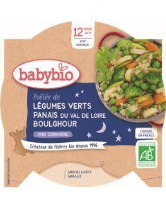 Babybio Poêlée de Légumes Verts Panais du Val de Loire Boulghour avec Coriandre dès 12 mois 230g