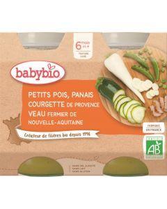 Babybio Petits Pois Panais Courgette de Provence Veau Fermier de Nouvelle-Aquitaine dès 6 mois 2x200g