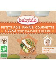 Babybio Petits Pots Petits Pois, Panais, Courgette, Veau Fermier Biologique dès 6 Mois 2x200g