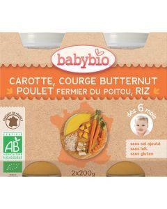 Babybio Petits Pots Carotte, Courge Butternut, Poulet Fermier, Riz Biologique dès 6 Mois 2x200g