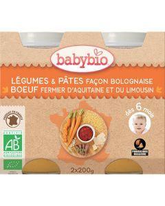 Babybio Petits Pots Légumes & Pâtes façon Bolognaise au Bœuf Fermier Biologique dès 6 Mois 2x200g