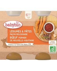 Babybio Légumes & Pâtes Façon Bolognaise au Bœuf Fermier de Nouvelle-Aquitaine dès 6 mois 2x200g