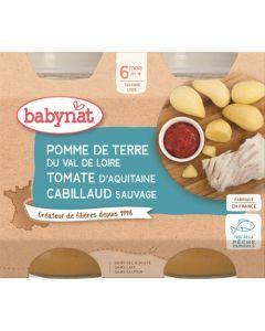 Babybio Pomme de Terre du Val de Loire Tomate d'Aquitaine Cabillaud Sauvage dès 6 mois 2x200g