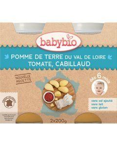 Babybio Petits Pots Pomme de Terre du Val de Loire, Tomate, Cabillaud dès 6 Mois 2x200g