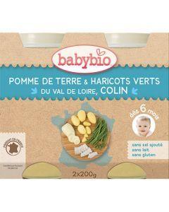 Babybio Petits Pots Pomme de Terre & Haricots Verts du Val de Loire, Colin dès 6 Mois 2x200g