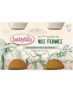 Babybio La 1ère Recette de nos Fermes Potimarron Vert & Butternut dès 4 mois 2x130g