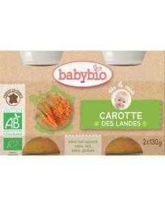 Babybio Petits Pots Carotte des Landes Biologique dès 4 Mois 2x130g
