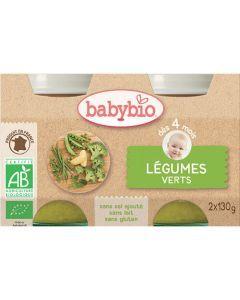 Babybio Petits Pots Légumes Verts Biologique dès 4 Mois 2x130g