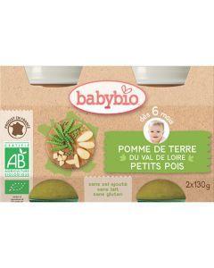 Babybio Petits Pots Pomme de Terre du Val de Loire & Petits Pois Biologique dès 6 Mois 2x130g
