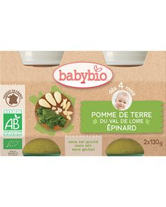 Babybio Petits Pots Pomme de Terre du Val de Loire & Epinard Biologique dès 4 mois 2x130g