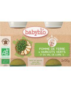 Babybio Petits Pots Pomme de Terre & Haricots Verts du Val de Loire Biologique dès 4 Mois 2x130g