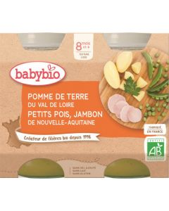 Babybio Pomme de Terre du Val de Loire Petits Pois Jambon de Nouvelle-Aquitaine dès 8 mois 2x200g