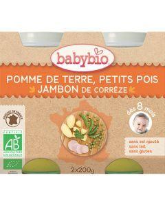 Babybio Petits Pots Pomme de Terre, Petits Pois, Jambon de Corrèze Biologique dès 8 Mois 2x200g