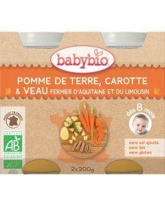 Babybio Petits Pots Pomme de Terre, Carotte, Veau Fermier Biologique dès 8 Mois 2x200g