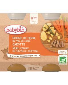 Babybio Pomme de Terre du Val de Loire Carotte Veau Fermier de Nouvelle-Aquitaine dès 8 mois 2x200g