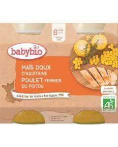 Babybio Maïs Doux d'Aquitaine Poulet Fermier du Poitou dès 8 mois 2x200g