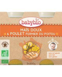 Babybio Petits Pots Maïs Doux, Poulet Fermier Biologique dès 8 Mois 2x200g