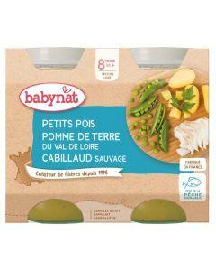 Babybio Petits Pois Pomme de Terre du Val de Loire Cabillaud Sauvage dès 8 mois 2x200g