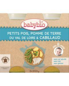 Babybio Petits Pots Petits Pois, Pomme de Terre, Cabillaud dès 8 Mois 2x200g