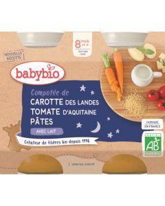 Babybio Compotée de Carotte des Landes Tomate d'Aquitaine Pâtes dès 8 mois 2x200g
