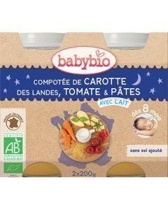 Babybio Petits Pots Bonne Nuit Compotée de Carotte, Tomate, Pâtes Biologique dès 8 Mois 2x200g