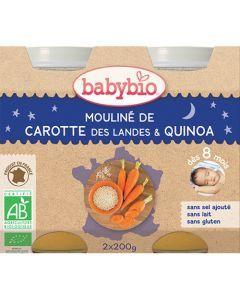 Babybio Petits Pots Bonne Nuit Mouliné de Carotte, Quinoa Biologique dès 8 Mois 2x200g
