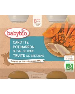 Babybio Carotte Potimarron du Val de Loire Truite de Bretagne dès 8 mois 2x200g