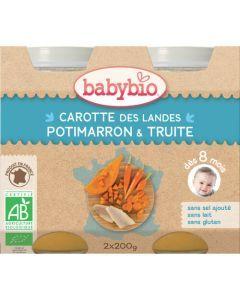 Babybio Petits Pots Carotte des Landes, Potimarron, Truite Biologique dès 8 Mois 2x200g