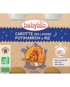 Babybio Petits Pots Bonne Nuit Carotte des Landes, Potimarron, Riz Biologique dès 6 Mois 2x200g