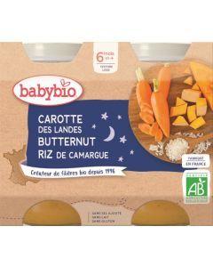 Babybio Carotte des Landes Butternut Riz de Camargue dès 6 mois 2x200g